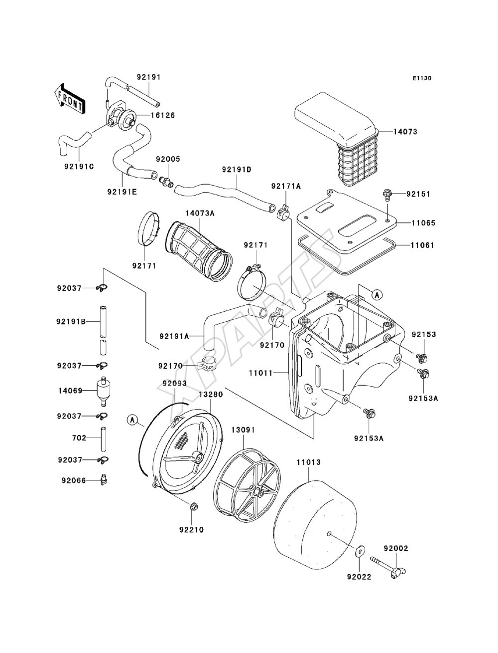Kawasaki Klx250s Klx250 H6f Fra 2006 Originale Reservedele Motorcycle Parts Kx65a6f Kx65 Engine Covers Diagram Billede Til Varegruppe Air Cleaner