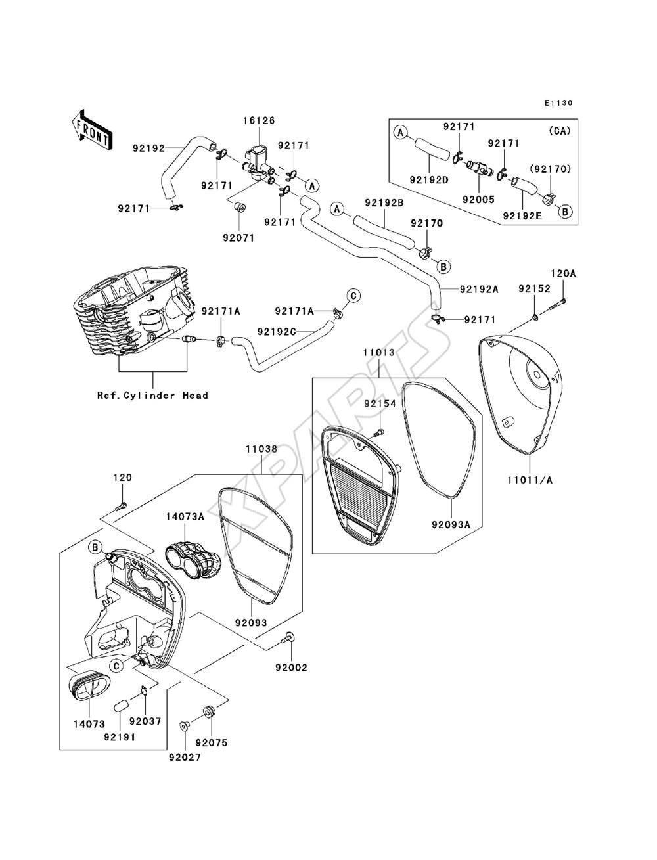 2012 Kawasaki Vulcan 900 Custom Wiring Diagram Library Billede Til Varegruppe Air Cleaner