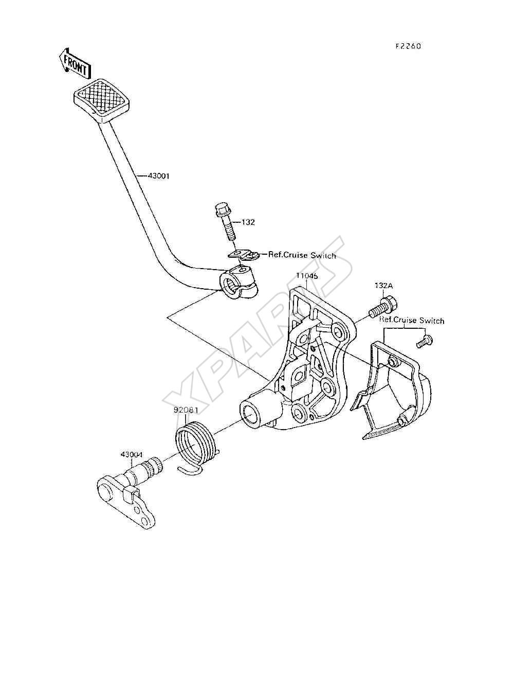 Kawasaki Voyager Xii Zg1200 B6 Fra 1992 Originale Reservedele Wiring Diagram Billede Til Varegruppe Brake Pedal Torque Link