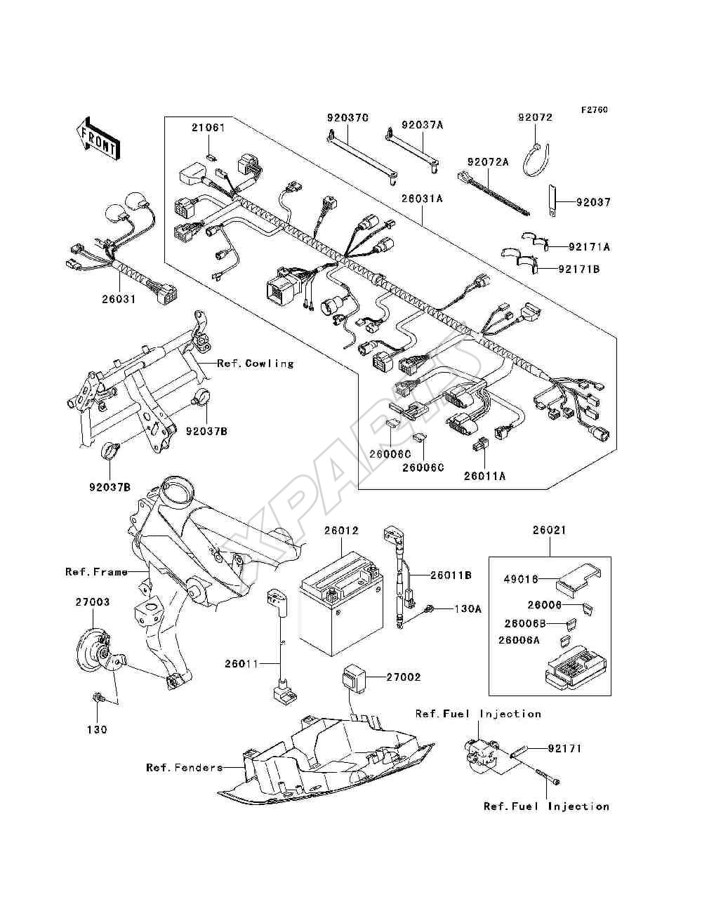 Kawasaki Z750s Zr750 K6f Fra 2006 Originale Reservedele Motorcycle Parts Kx65a6f Kx65 Engine Covers Diagram Billede Til Varegruppe Chassis Electrical Equipment