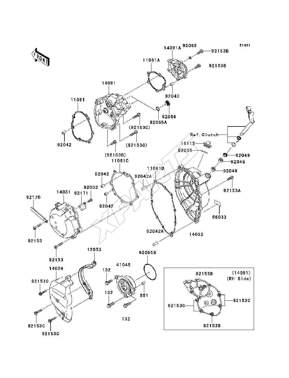 Kawasaki Ninja Zx 10r Zx1000 D6f Fra 2006 Originale Reservedele Motorcycle Parts Kx65a6f Kx65 Engine Covers Diagram Billede Til Varegruppe