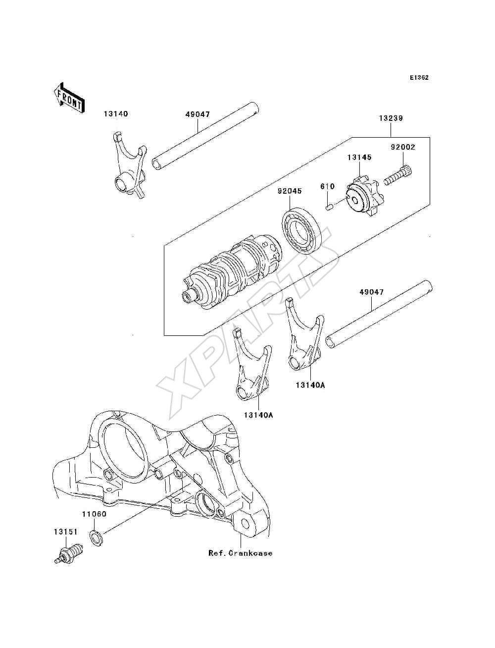 Kawasaki Ninja Zx 6r Zx636 C6f Fra 2006 Originale Reservedele Motorcycle Parts Kx65a6f Kx65 Engine Covers Diagram Billede Til Varegruppe Gear Change Drum Shift Forks